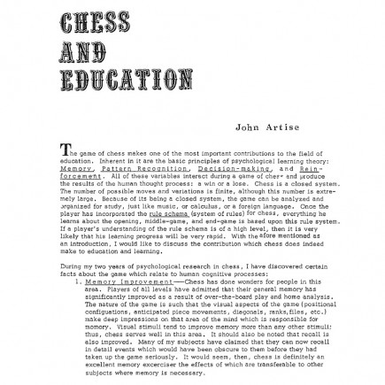 Chess and Education, page 1