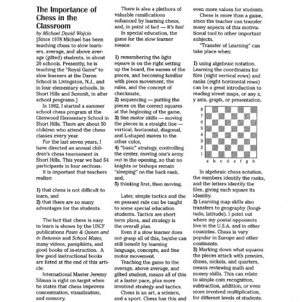 Importance of Chess in The Classroom, page 1